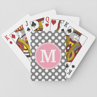 Pastel Pink & Gray Polka Dots with Custom Monogram Deck Of Cards