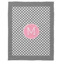 Pastel Pink & Gray Polka Dots with Custom Monogram Fleece Blanket