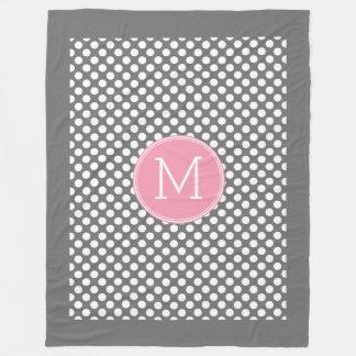 Pastel Pink & Gray Polka Dots with Custom Monogram Fleece Blanket