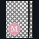 """Pastel Pink &amp; Gray Polka Dots with Custom Monogram iPad Pro 12.9&quot; Case<br><div class=""""desc"""">A preppy and 80s color pattern with a classic single monogram. Cute and girly,  this retro design is perfect for any woman.</div>"""