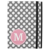 "Pastel Pink & Gray Polka Dots with Custom Monogram iPad Pro 12.9"" Case"