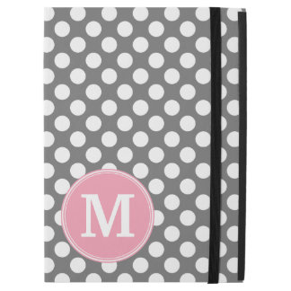 "Pastel Pink & Gray Polka Dots with Custom Monogram iPad Pro 12.9"" Case"