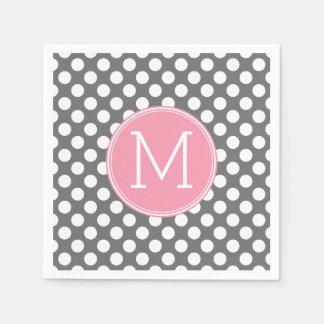 Pastel Pink & Gray Polka Dots with Custom Monogram Paper Napkin