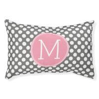 Pastel Pink & Gray Polka Dots with Custom Monogram Pet Bed