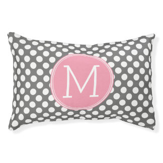 Pastel Pink & Gray Polka Dots with Custom Monogram Pet Bed