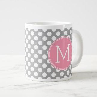 Pastel Pink & Gray Polka Dots with Custom Monogram 20 Oz Large Ceramic Coffee Mug