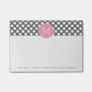 Pastel Pink & Gray Polka Dots with Custom Monogram Post-it® Notes