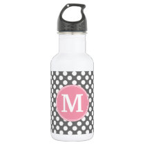 Pastel Pink & Gray Polka Dots with Custom Monogram Water Bottle