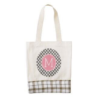 Pastel Pink & Gray Polka Dots with Custom Monogram Zazzle HEART Tote Bag