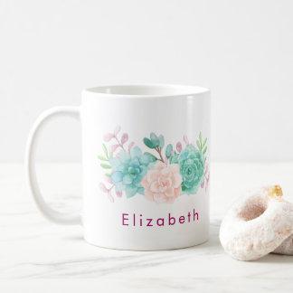 Pastel Pink & Green Floral Bouquet Coffee Mug