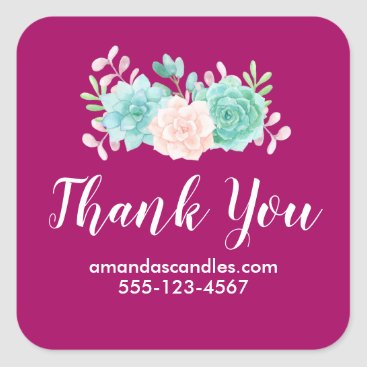 Professional Business Pastel Pink & Green Floral Bouquet on Magenta Back Square Sticker