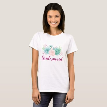 Bride Themed Pastel Pink & Green Floral Bouquet T-Shirt