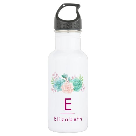 Pastel Pink & Green Floral Bouquet with Monogram Water Bottle