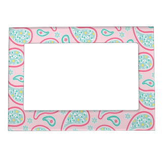 Pastel Pink & Green Paisley Magnetic Picture Frame