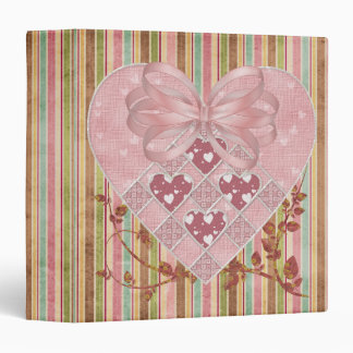 Pastel Pink Heart and Bow 3 Ring Binders