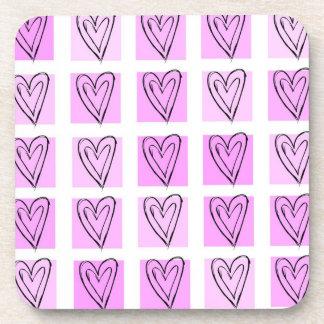 Pastel Pink Heart Squares Beverage Coaster