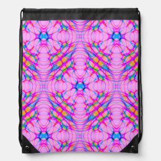 Pastel Pink Kaleidoscope Pattern Abstract Drawstring Backpack