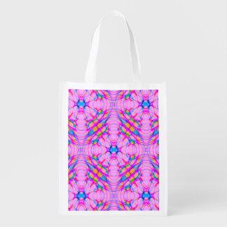 Pastel Pink Kaleidoscope Pattern Abstract Grocery Bag