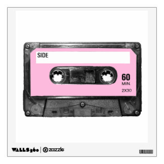 Pastel Pink Label Cassette Wall Decal