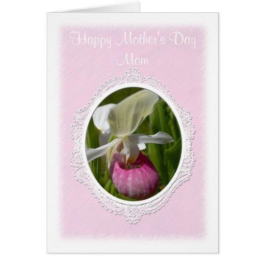 Pastel Pink Lady Slipper Greeting Card