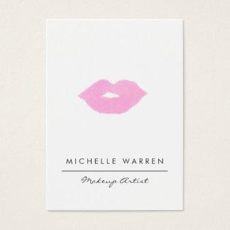 Pastel Pink Lips Watercolor Makeup Artist Business Card