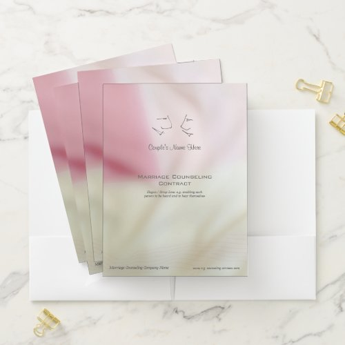 Pastel pink marriage counselor couple contract pocket folder