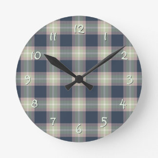 Pastel Pink Mint Green Dark Blue Plaid Pattern Round Clock