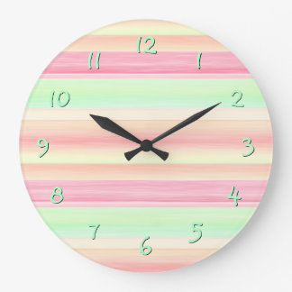 Pastel Pink Mint Green Watercolor Stripes Pattern Large Clock