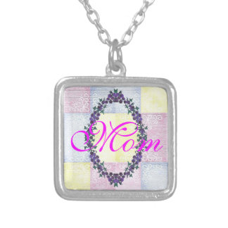 Pastel Pink Mom Yellow Girly Mother Cute Pattern Silver Plated Necklace