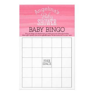 Pastel Pink Ombre Girl Baby BINGO Shower Stationery