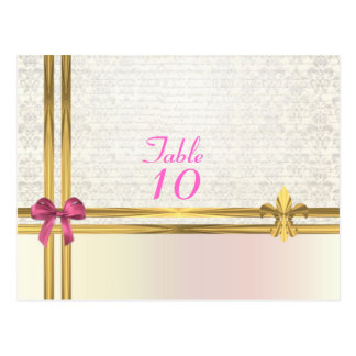 Pastel pink on  white damask table number postcard