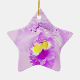 Pastel Pink Orchid Double-Sided Star Ceramic Christmas Ornament