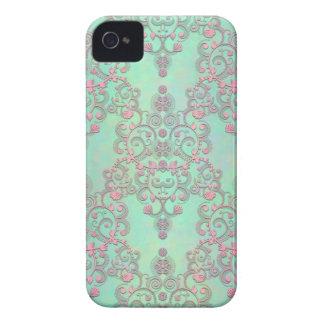 Pastel Pink over Mint Green Floral Damask Blackberry Bold Case
