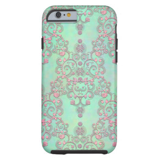 Pastel Pink over Mint Green Floral Damask iPhone 6 Case