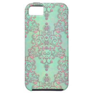 Pastel Pink over Mint Green Floral Damask iPhone 5 Cases