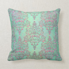 Pastel Pink over Mint Green Floral Damask Throw Pillows