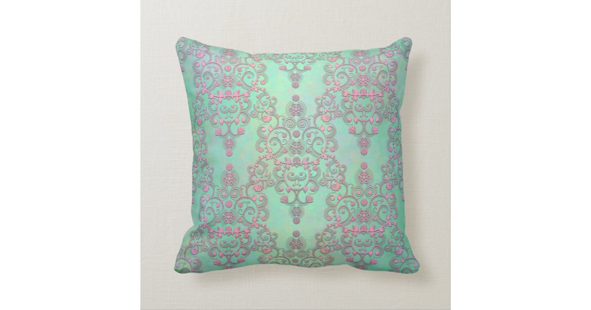 Throw Pillows In Mint Green : Pastel Pink over Mint Green Floral Damask Throw Pillow Zazzle