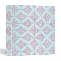 Pastel Pink over Teal Damask Pattern Binder