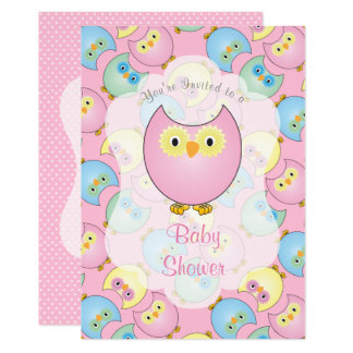 Pastel Pink Owl Baby Shower Card