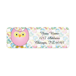 Pastel Pink Owl Baby Shower Theme Label