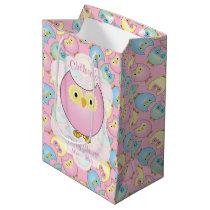 Pastel Pink Owl Baby Shower Theme Medium Gift Bag