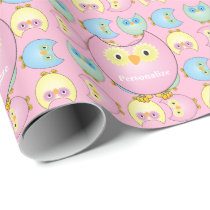 Pastel Pink Owl Baby Shower Theme Wrapping Paper