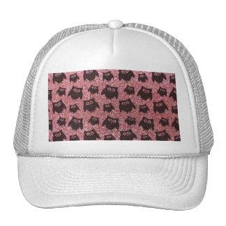 Pastel pink owl glitter pattern hat
