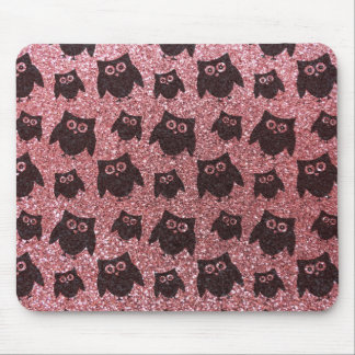 Pastel pink owl glitter pattern mouse pad