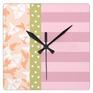 Pastel Pink Peach Tan Girly Floral  Wall Clock