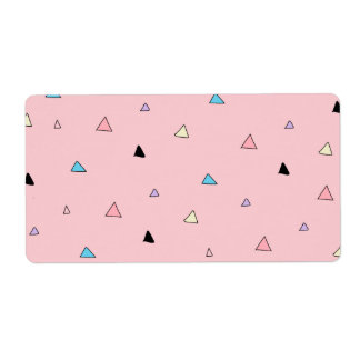 Pastel Pink Pieces Candy Chips Geometric Triangles Label