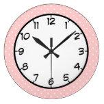 Pastel Pink Polka Dot Large Clock