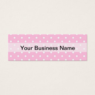 Pastel pink polka dot pattern mini business card