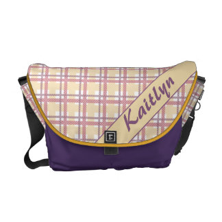 Pastel pink, purple and yellow plaid pattern courier bag
