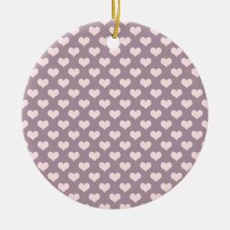 pastel pink purple love hearts polka dots pattern ceramic ornament